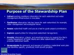 purpose of the stewardship plan