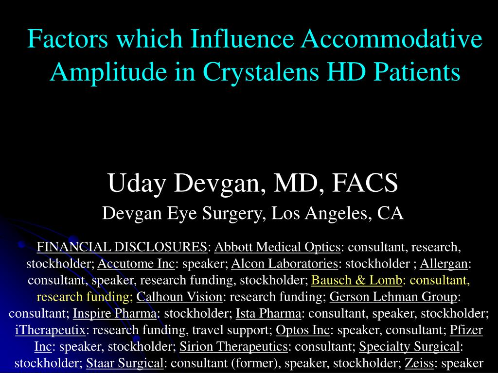 Factors which Influence Accommodative Amplitude in Crystalens HD Patients