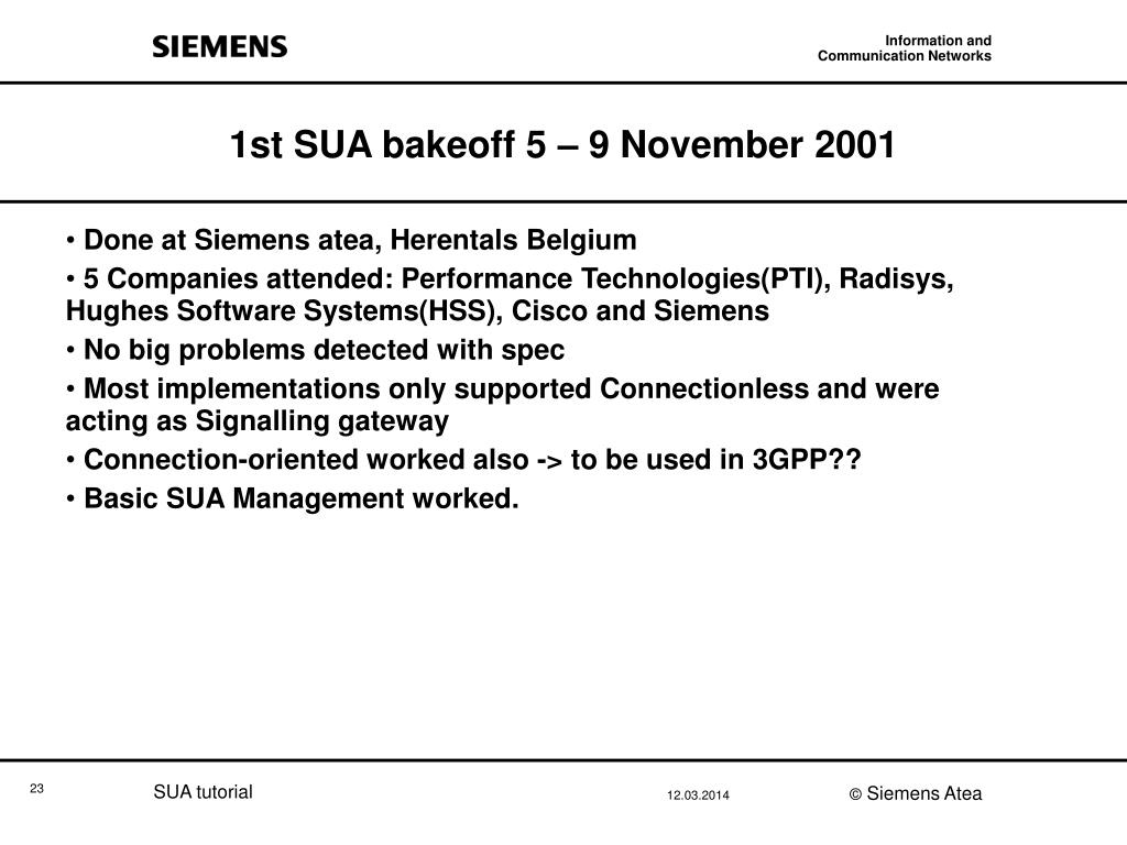 1st SUA bakeoff 5 – 9 November 2001