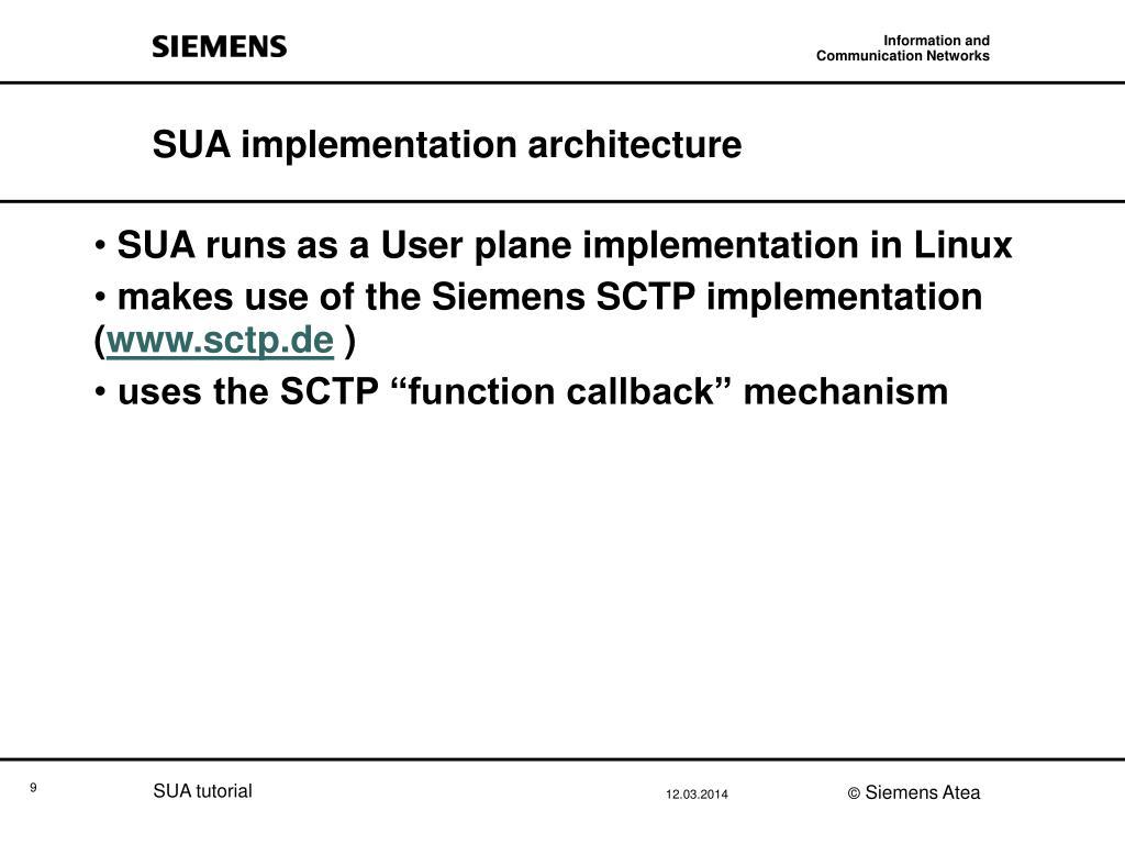 SUA implementation architecture