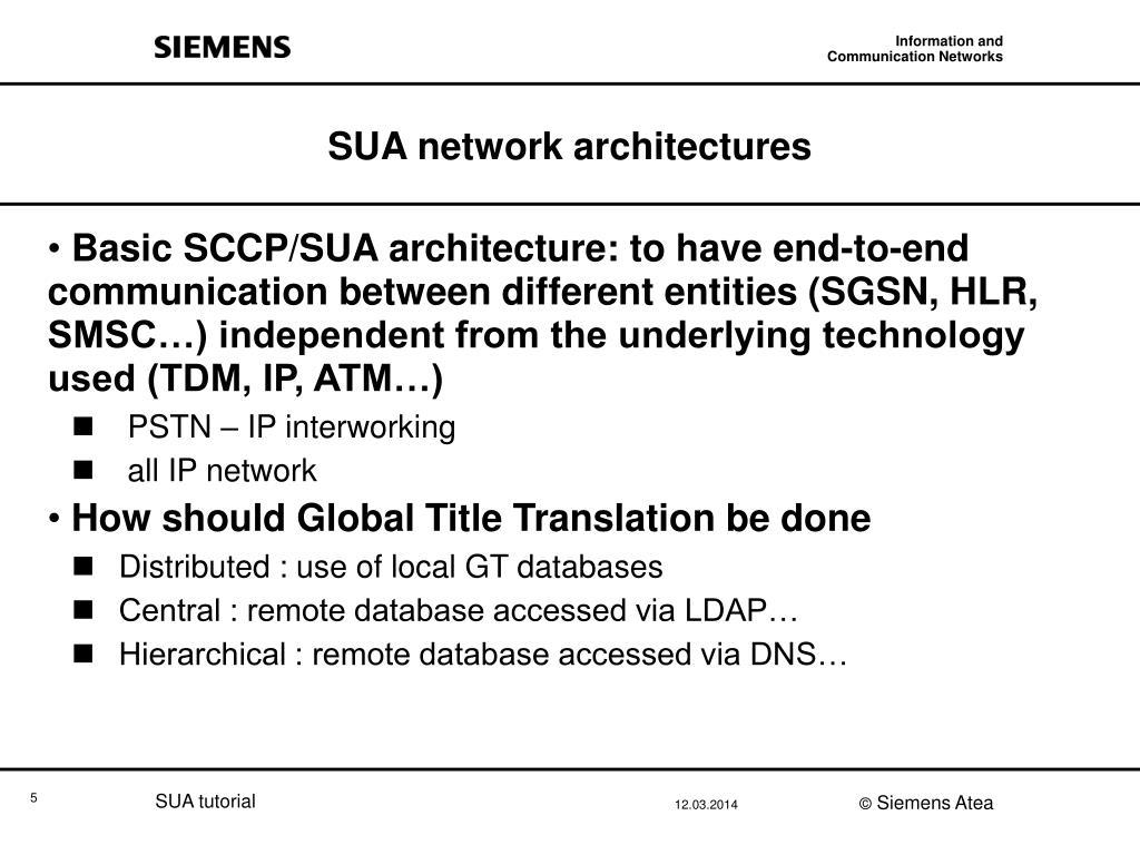 SUA network architectures