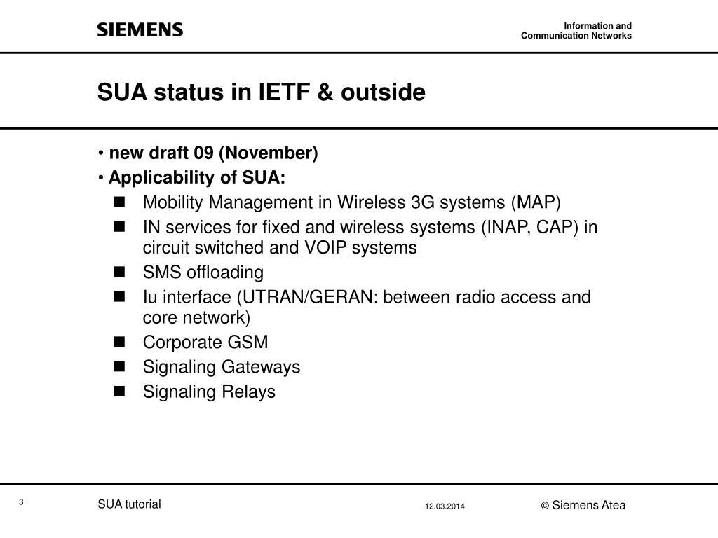 SUA status in IETF & outside