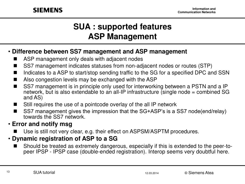 SUA : supported features
