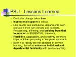 psu lessons learned