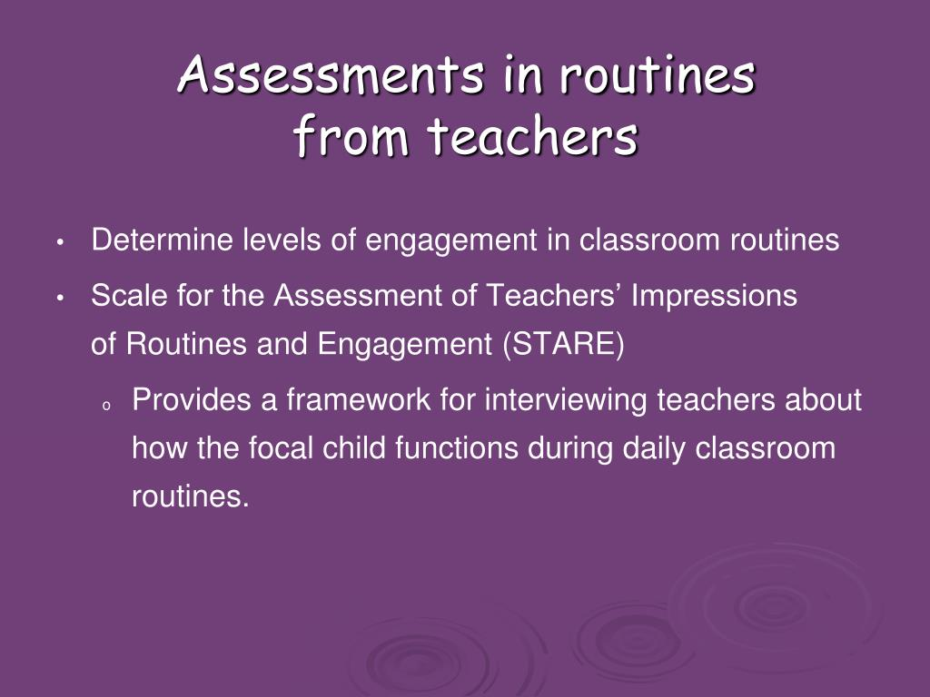 Assessments in routines