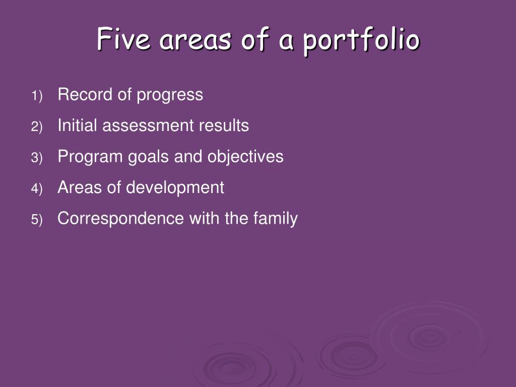 Five areas of a portfolio