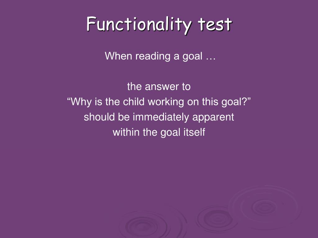 Functionality test