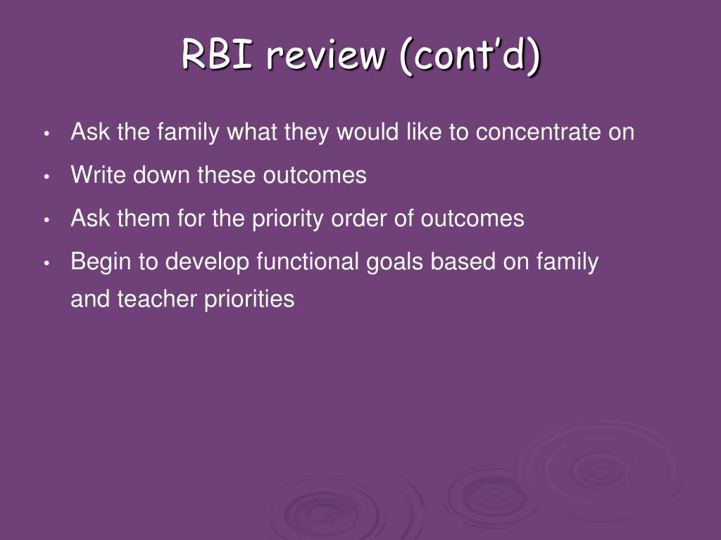 RBI review (cont'd)