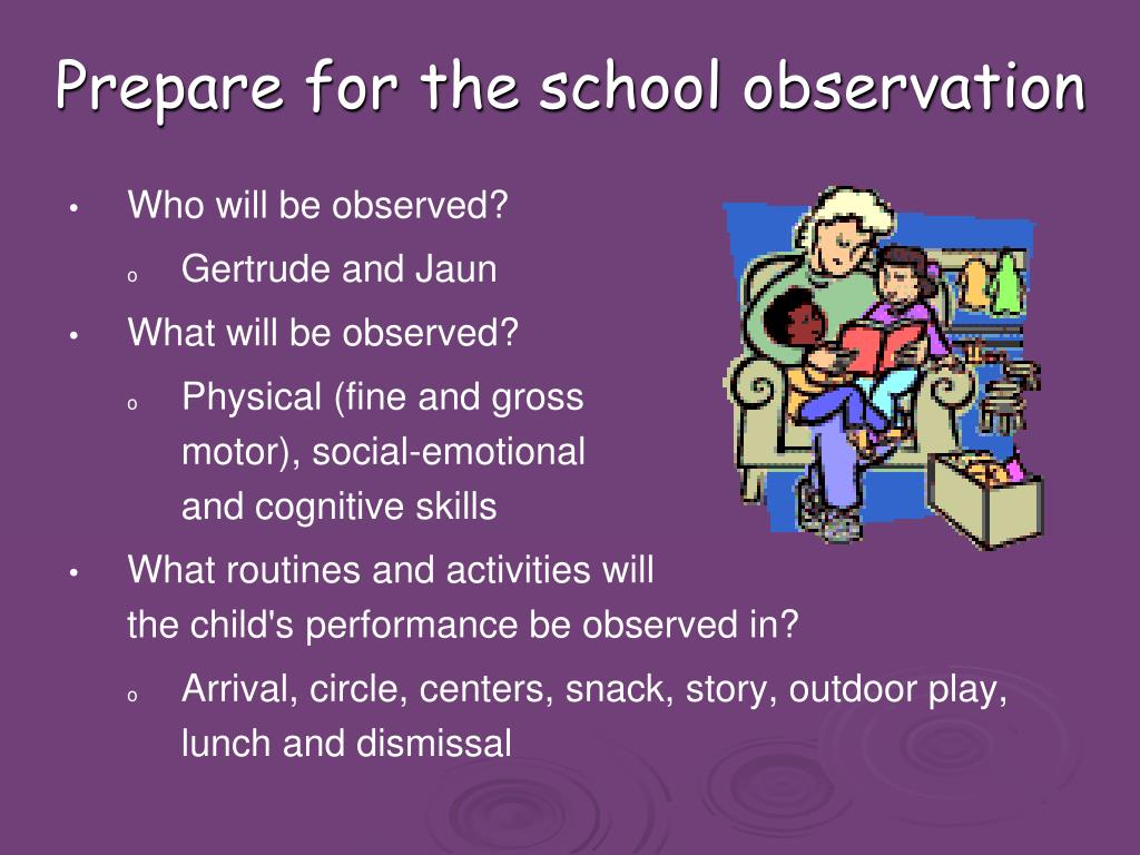 Prepare for the school observation