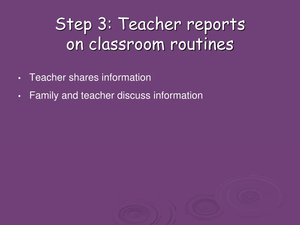 Step 3: Teacher reports