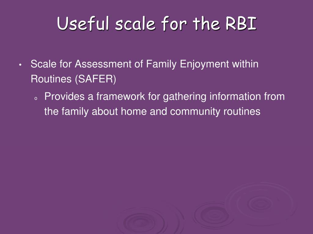 Useful scale for the RBI