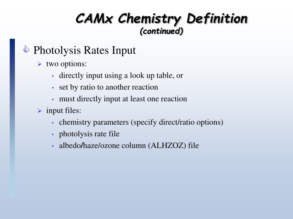 CAMx Chemistry Definition