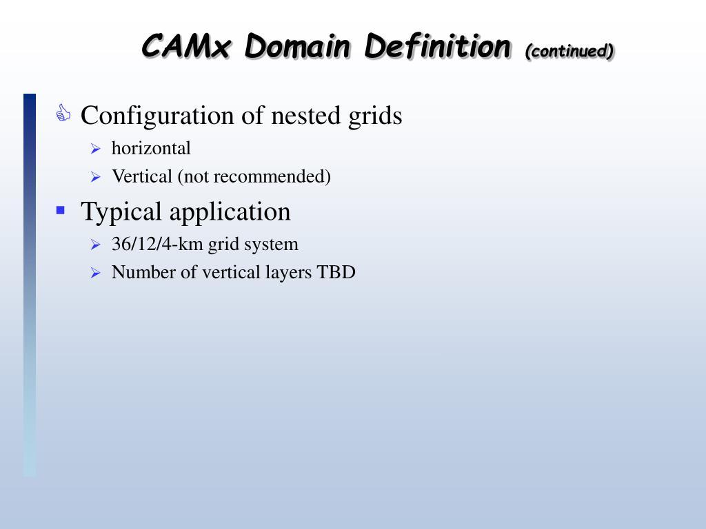 CAMx Domain Definition