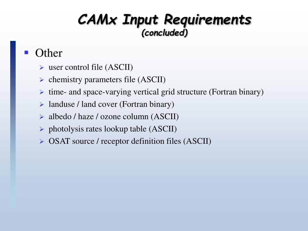 CAMx Input Requirements