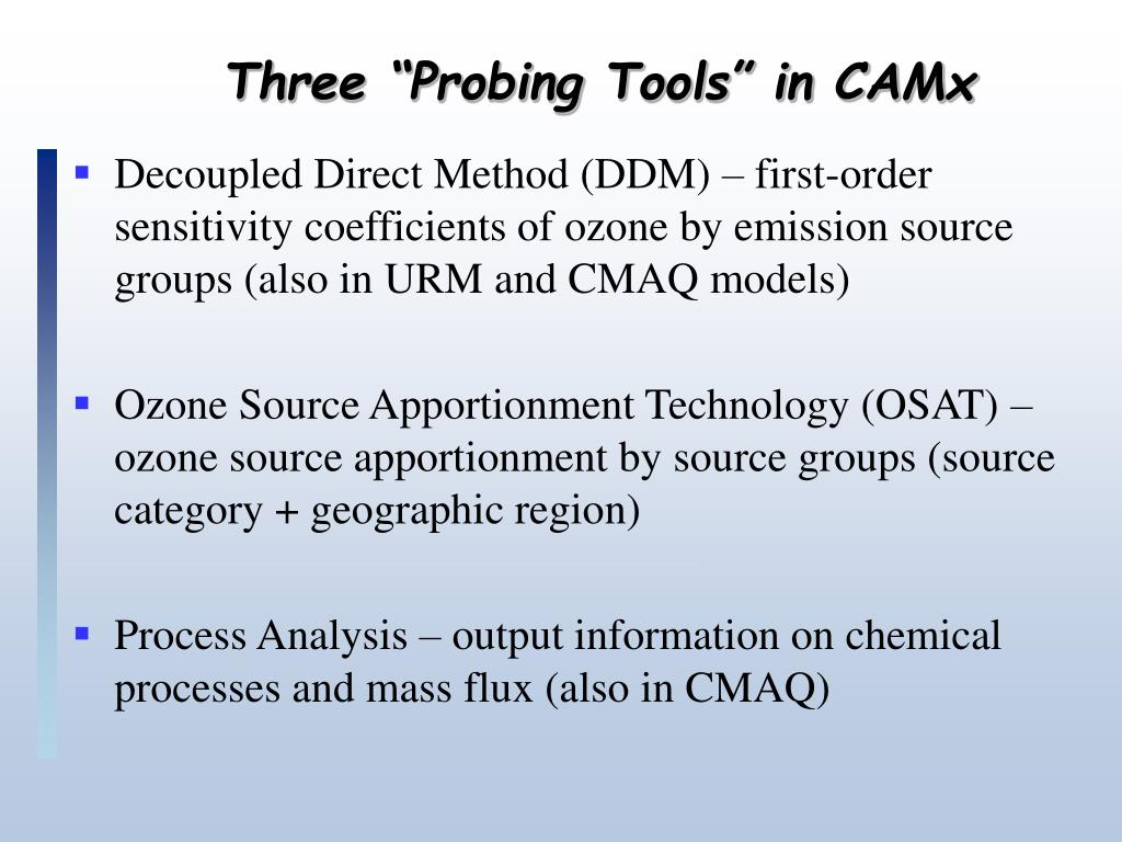 """Three """"Probing Tools"""" in CAMx"""