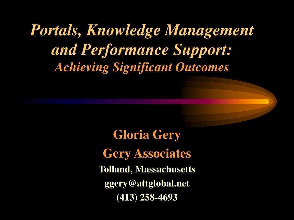Portals, Knowledge Management and Performance Support: