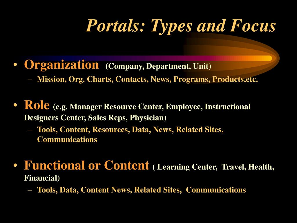 Portals: Types and Focus