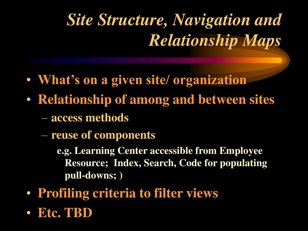 Site Structure, Navigation and Relationship Maps