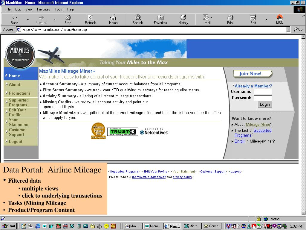 Data Portal:  Airline Mileage