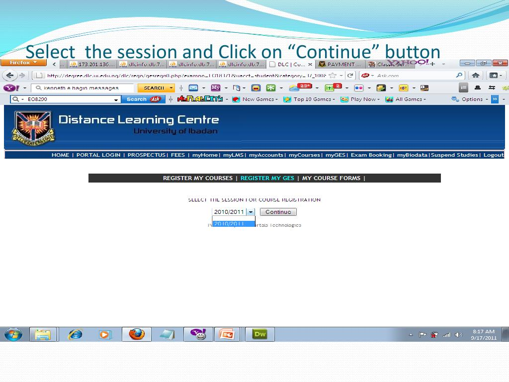 """Select  the session and Click on """"Continue"""" button"""