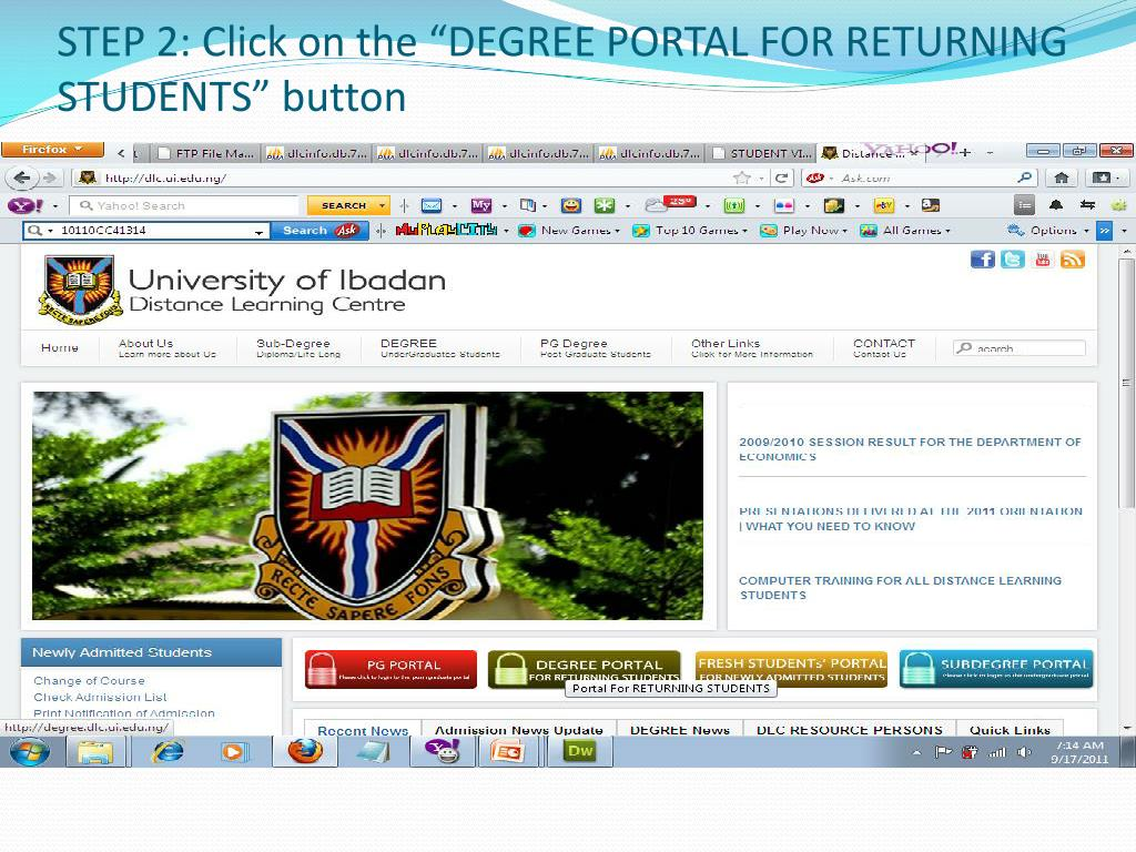 """STEP 2: Click on the """"DEGREE PORTAL FOR RETURNING STUDENTS"""" button"""