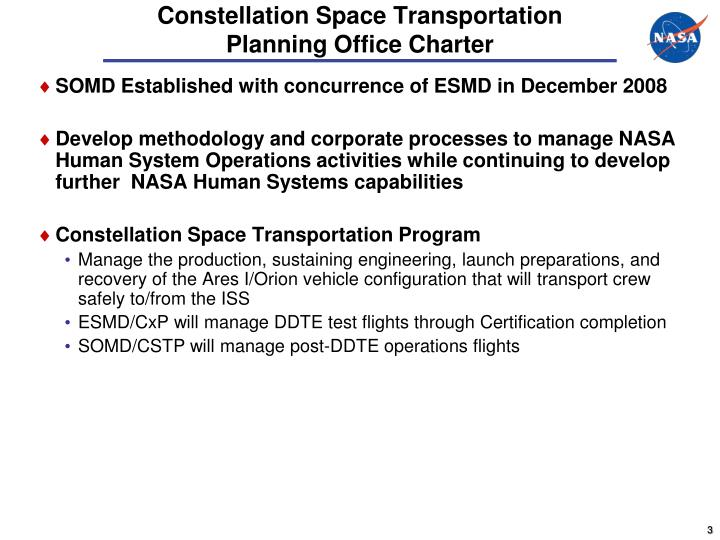 Constellation space transportation planning office charter