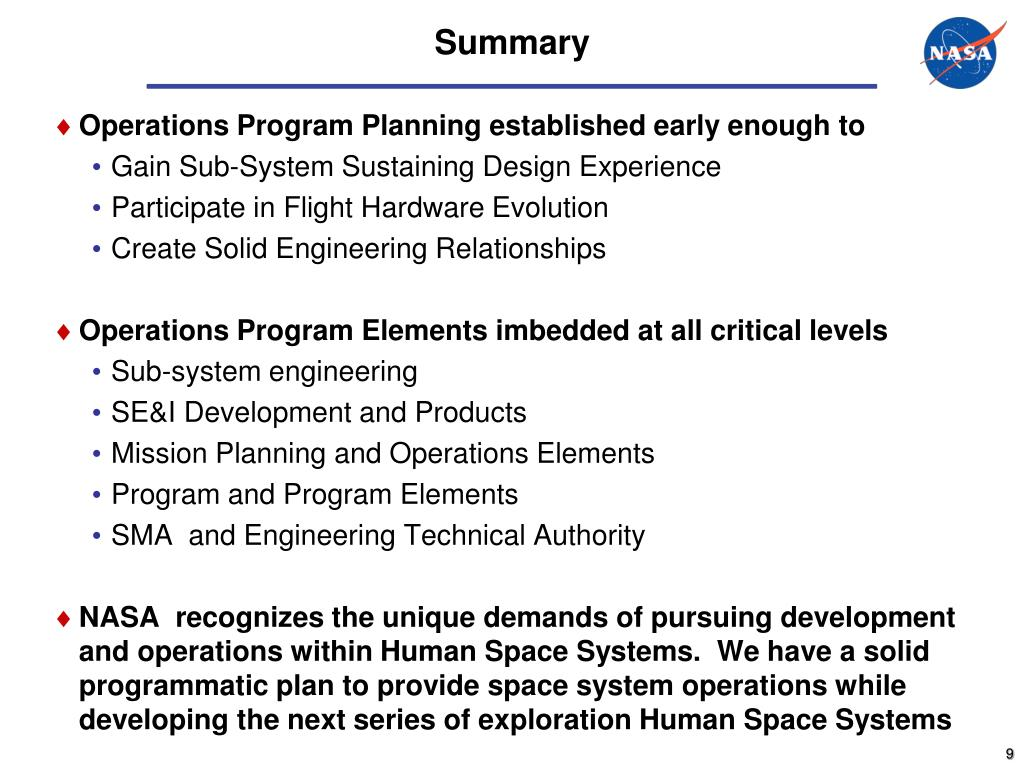 Operations Program Planning established early enough to