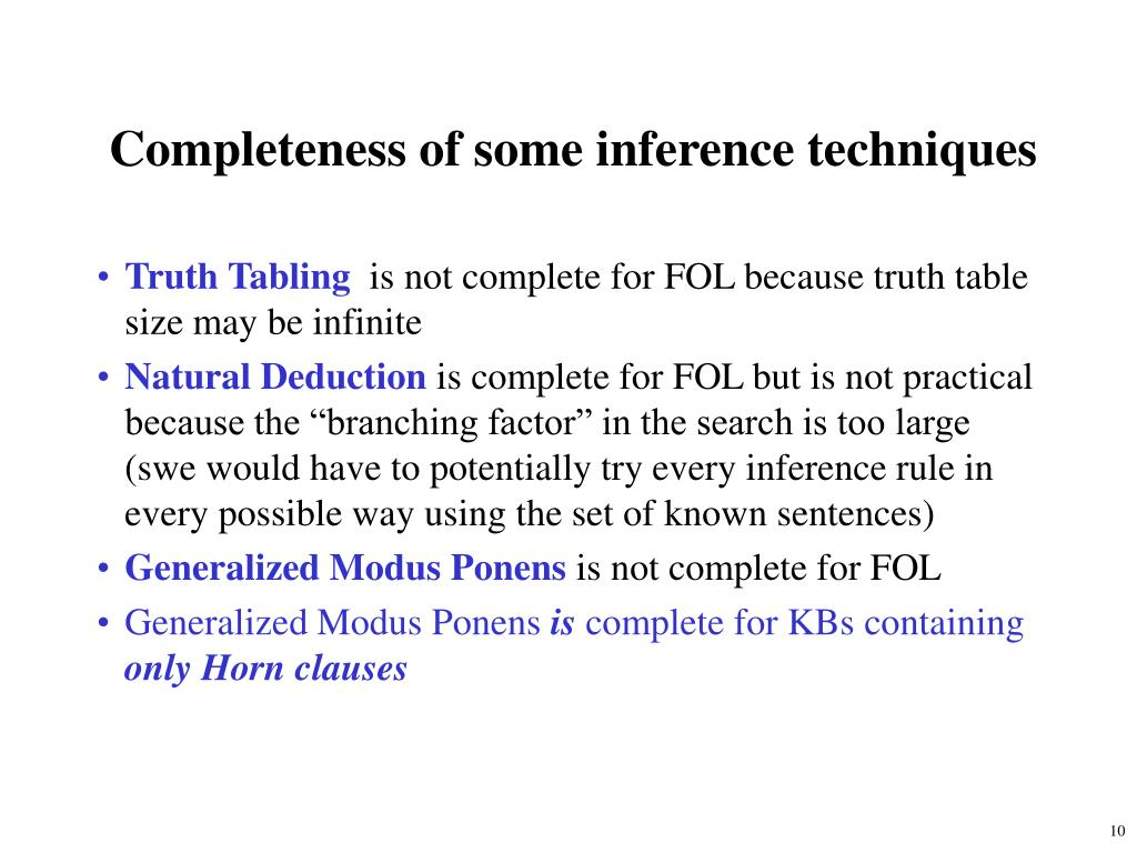 Completeness of some inference techniques