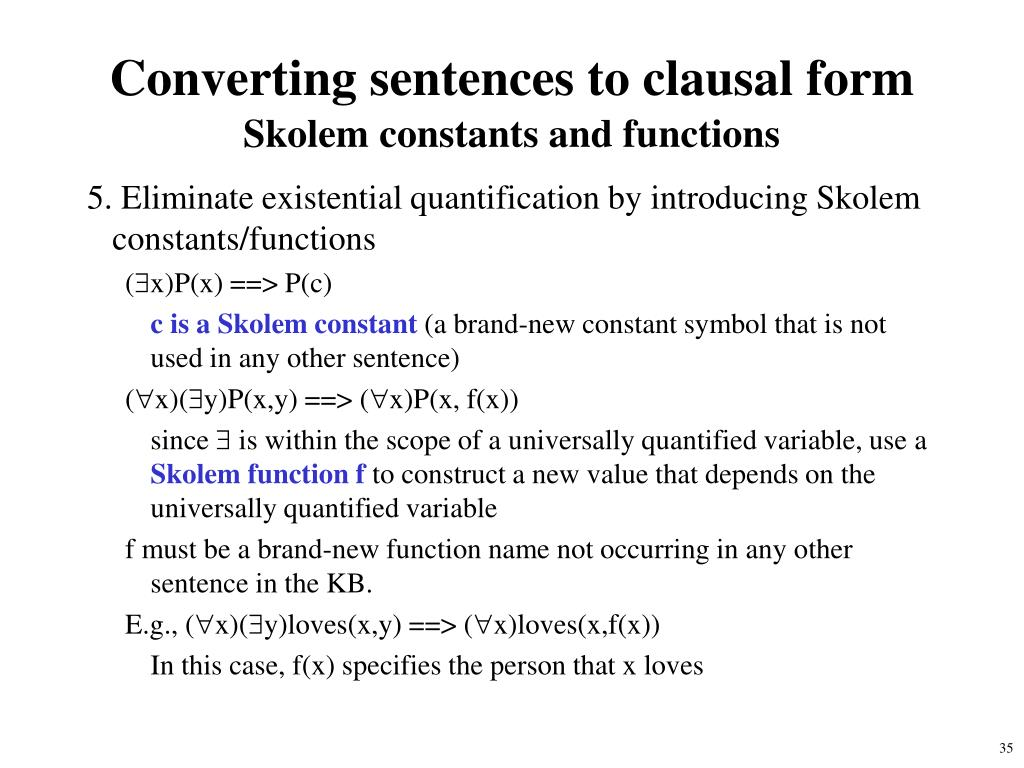 Converting sentences to clausal form