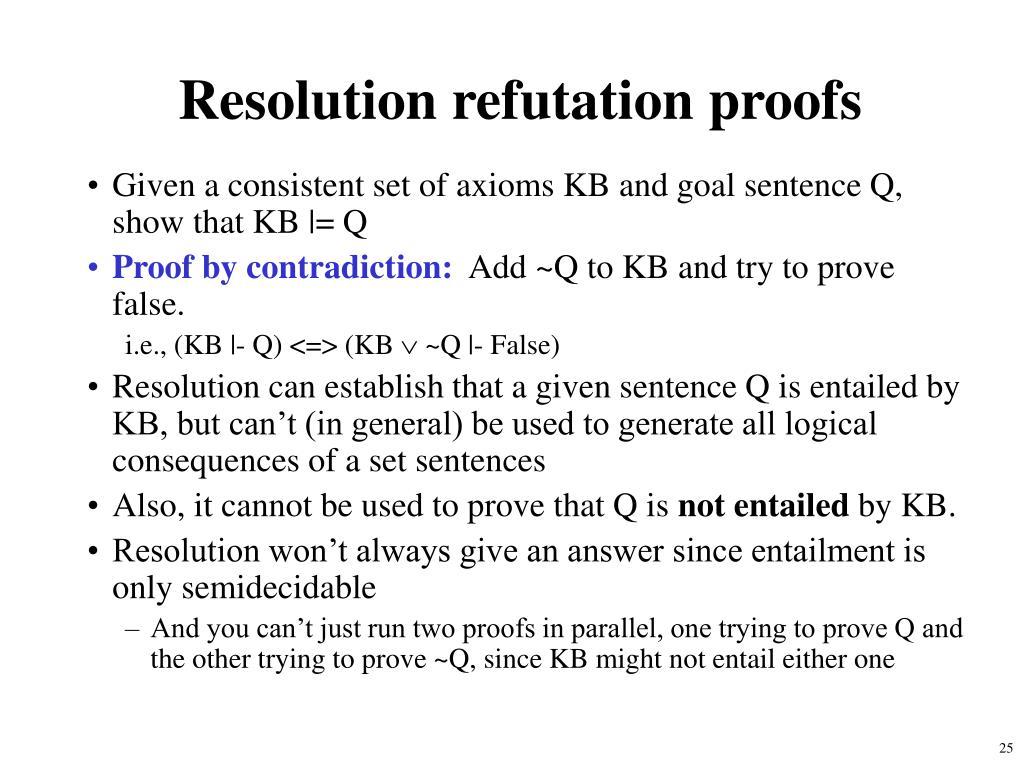 Resolution refutation proofs
