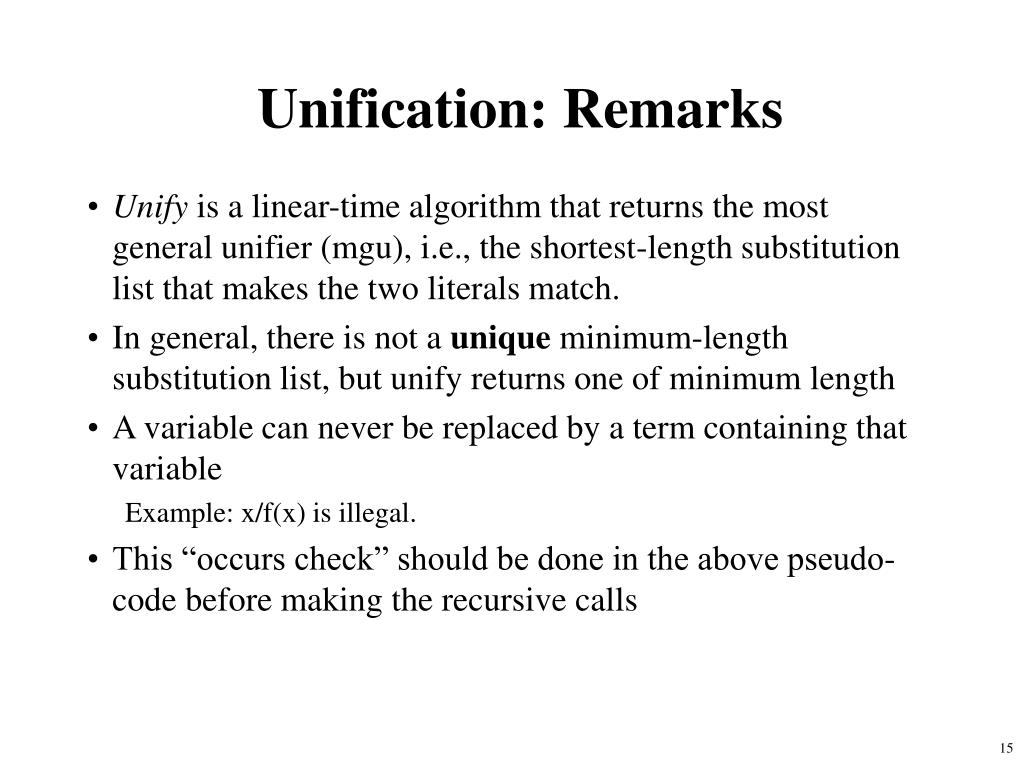 Unification: Remarks