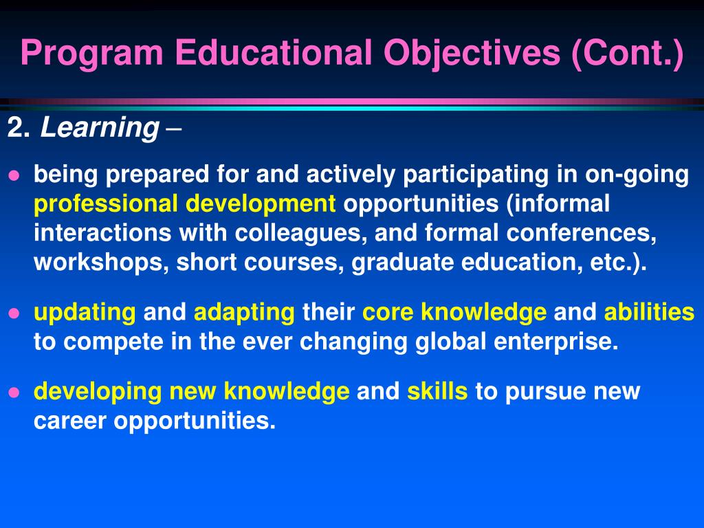 Program Educational Objectives (Cont.)