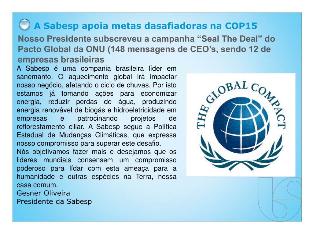 A Sabesp apoia metas dasafiadoras na COP15