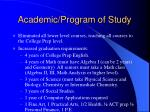 academic program of study