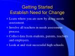 getting started establish need for change
