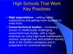 high schools that work key practices