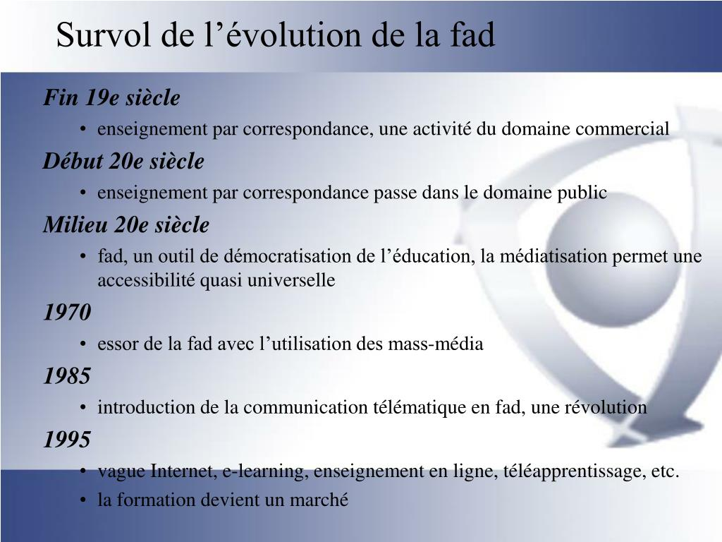 Survol de l'évolution de la fad