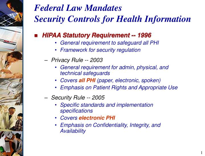 Federal law mandates security controls for health information