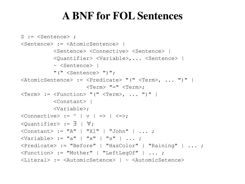 A BNF for FOL Sentences