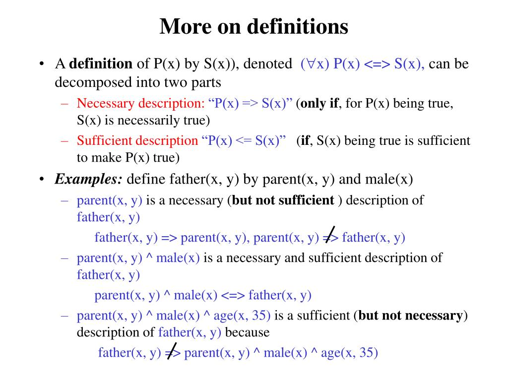 More on definitions