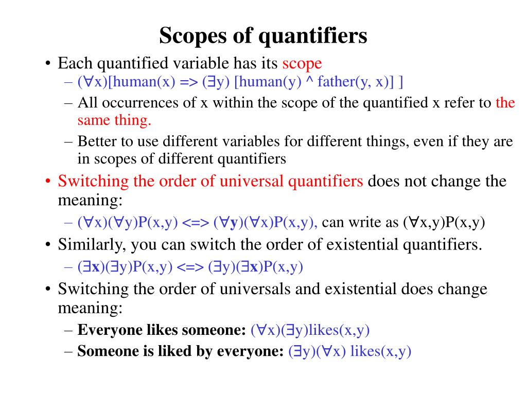Scopes of quantifiers