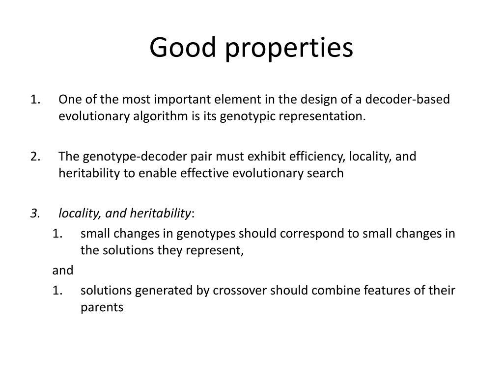 Good properties