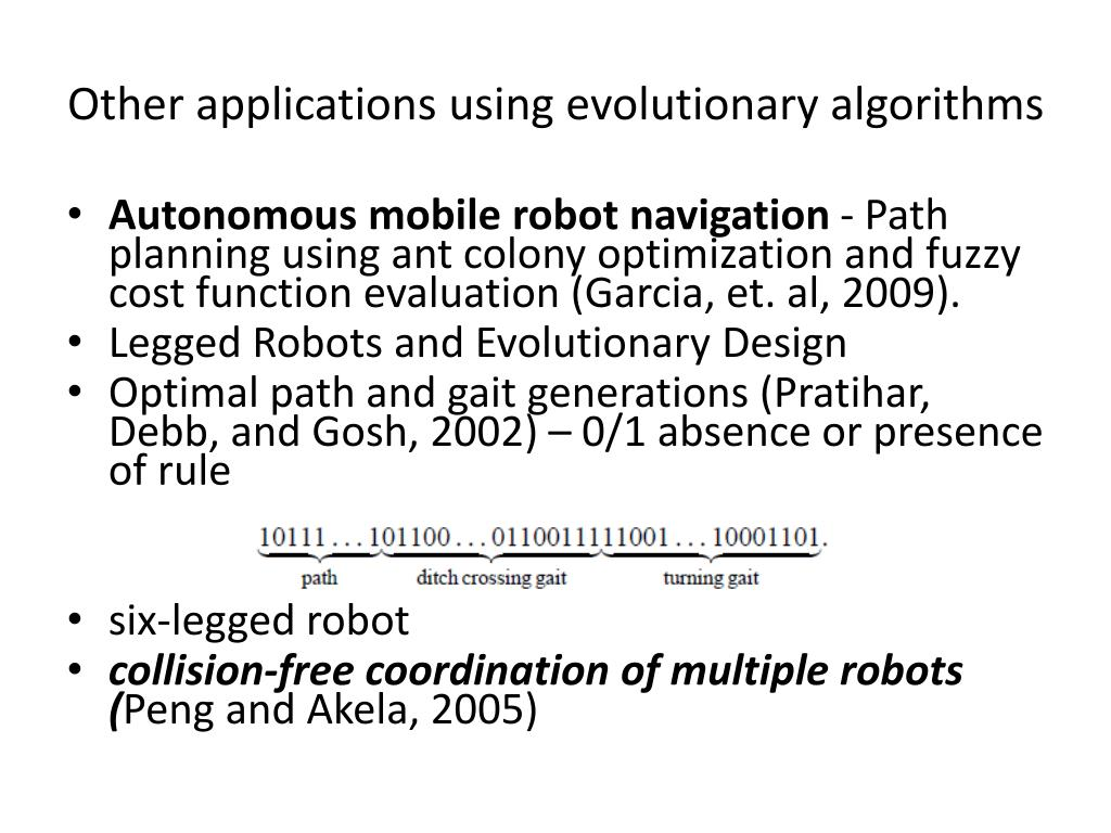 Other applications using evolutionary algorithms