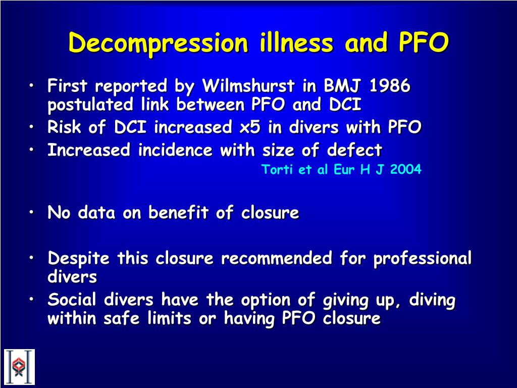 Decompression illness and PFO