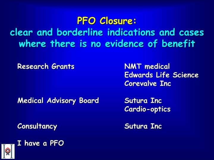 Pfo closure clear and borderline indications and cases where there is no evidence of benefit2