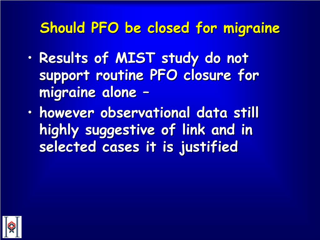 Should PFO be closed for migraine