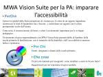 mwa vision suite per la pa imparare l accessibilit