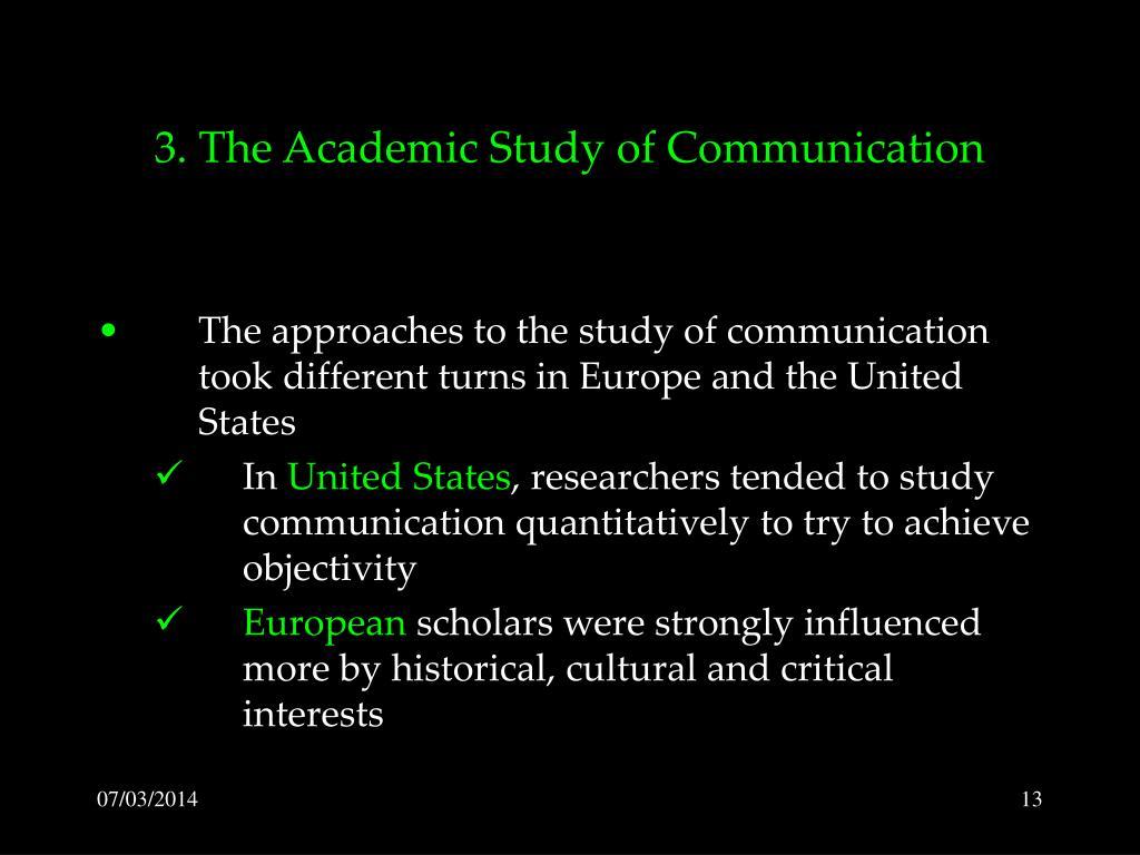 3. The Academic Study of Communication