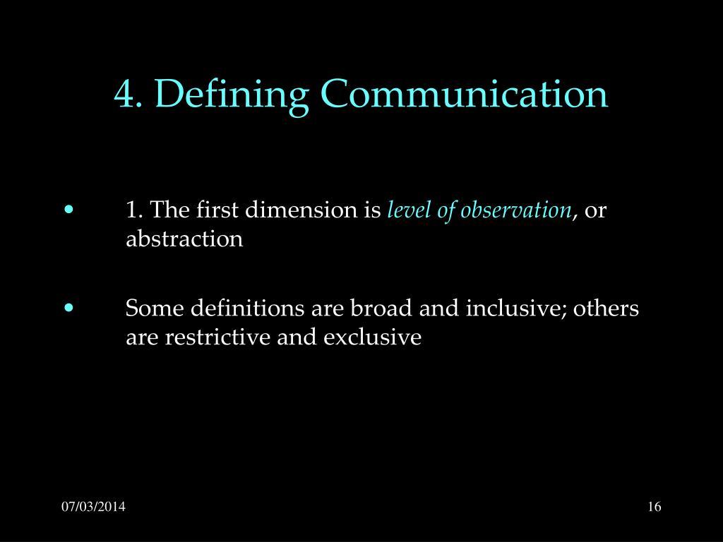 4. Defining Communication