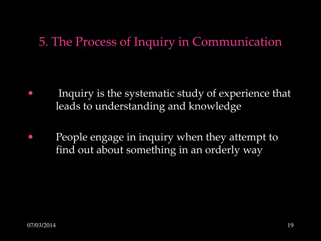 5. The Process of Inquiry in Communication
